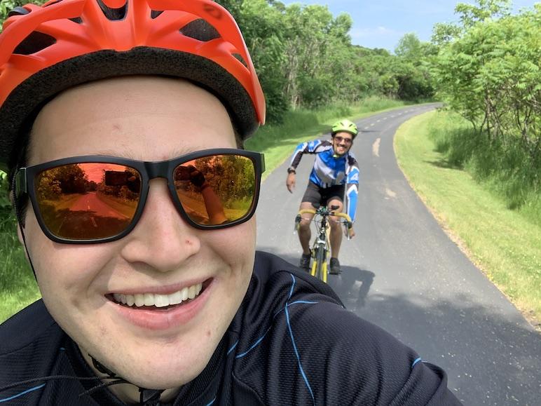 Selfie of biking with my roommate